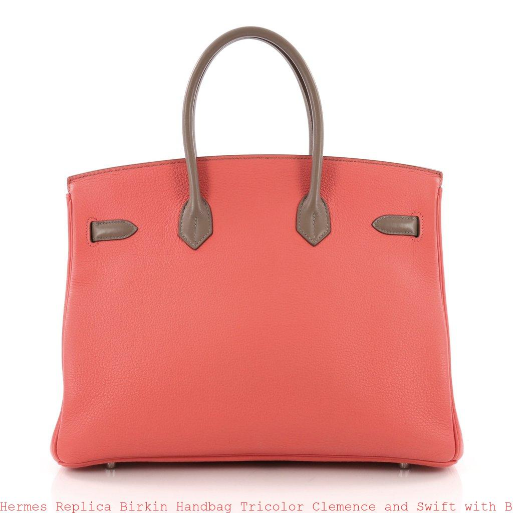 698ced2dc2 Hermes Replica Birkin Handbag Tricolor Clemence and Swift with Brushed  Palladium Hardware 35