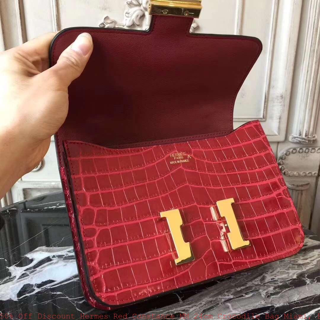 90632817098 50% Off Discount Hermes Red Constance MM 24cm Crocodile Bag Miami ...
